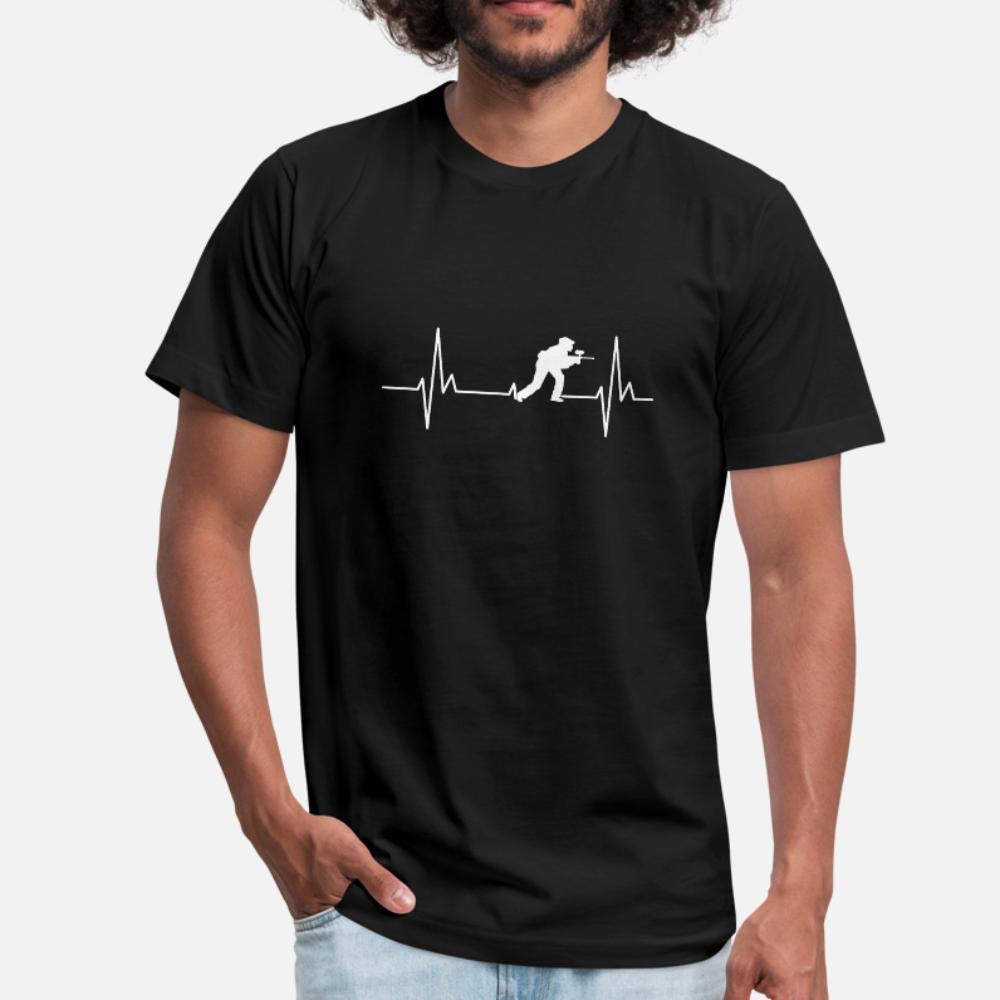 Paintball Heartbeat Ecg hombres de la camiseta de manga corta crean S-XXXL de la luz del sol masculino auténtico estilo de la camisa Fotos de verano