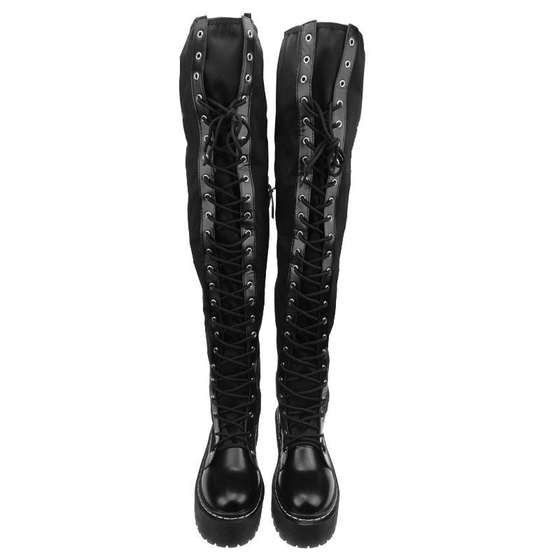 Donne della moda di New Punks pattini della piattaforma in pelle per la donna Creepers Lace Up sopra il ginocchio alto equitazione Stivali elastico Stivali