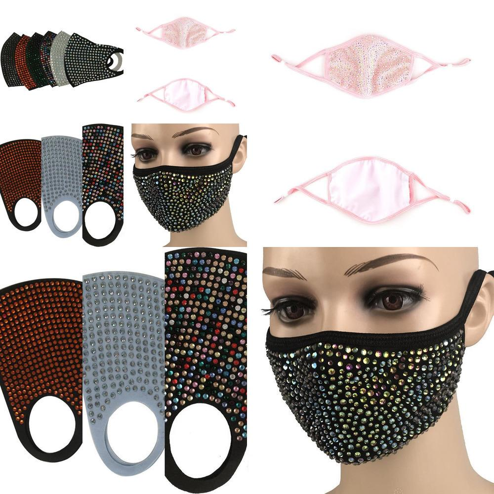 Fashion Protective Bling Diamond Dustproof Mask PM2.5 Mouth Masks Washable Reusable V8SY 6FVE1