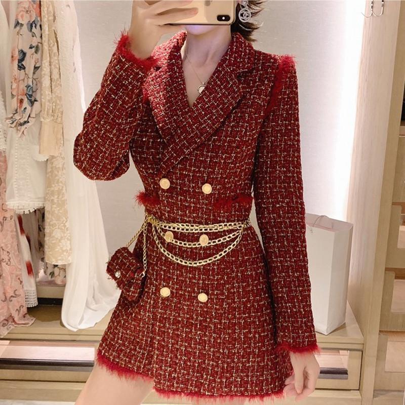 허리 가방 T200814 2020 년 가을 봄 여성 레트로 트위드 접합 짧은 코트 정장 격자 무늬 코트 여성 슬림 더블 브레스트 재킷
