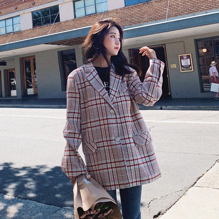 estilo ZjdMJ coreano terno solta curto / inverno 20 novo desgaste casaco Brasão profissional xadrez queda commuter OL das mulheres