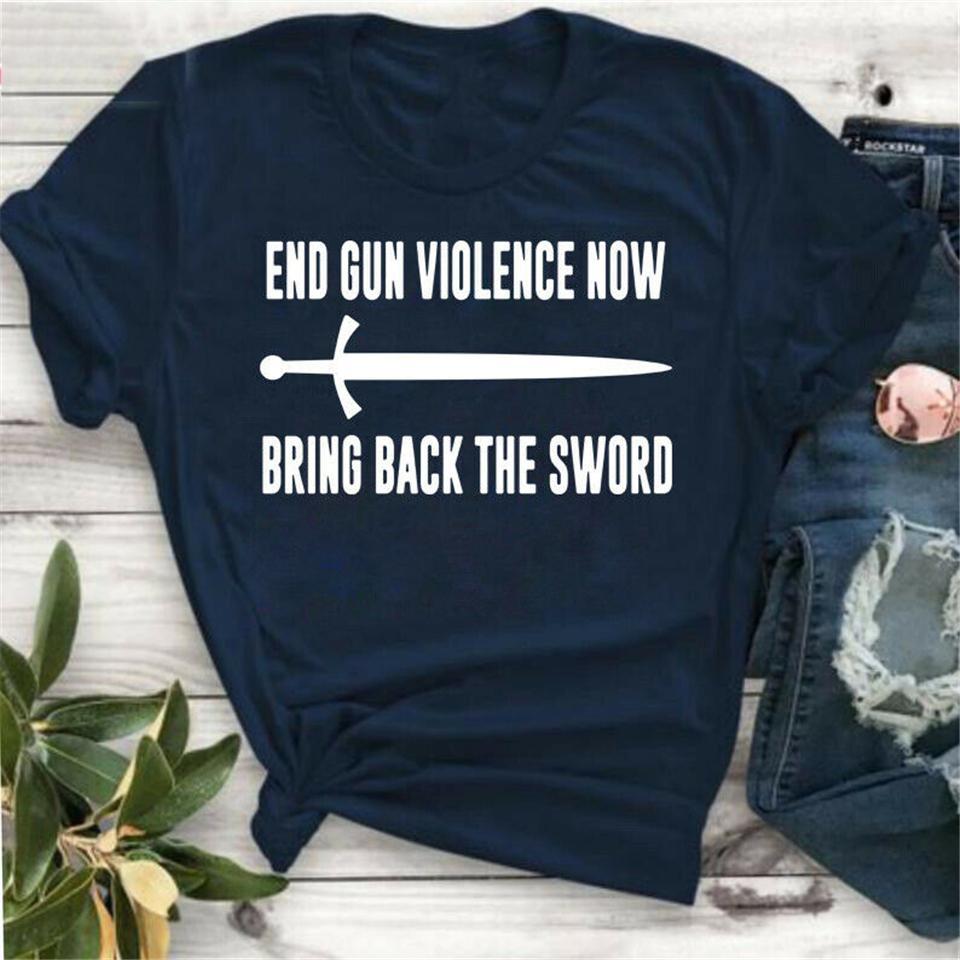 End Gun Насилие Теперь Bring Back The Sword Tee Shirt Navy-черный для мужчин-женщин Diy Prited футболочку