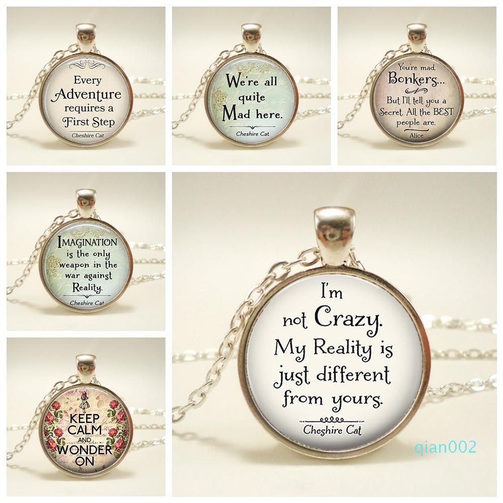 Citar Alice In Wonderland Inspirado Colar Pingente de vidro Dome Jewelry I Am Estou Cotação louca do gato Cheshire