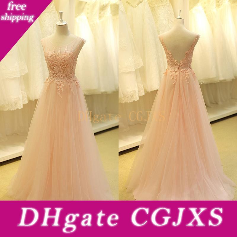 Gorgeous Prom Dresses Real Baby Pink Boat Neck Sexy Backless A Line Appliques Lace Beaded Long Formal Evening Party Dress