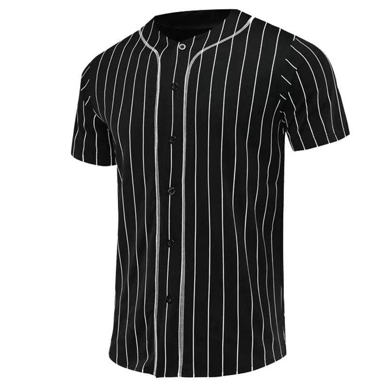 Джерси бейсбол мужчин черный белая полоса бейсбол рубашки Джерси Street Hiphop Футболки Топы дышащий Crew Neck Camiseta beisbol Y200824