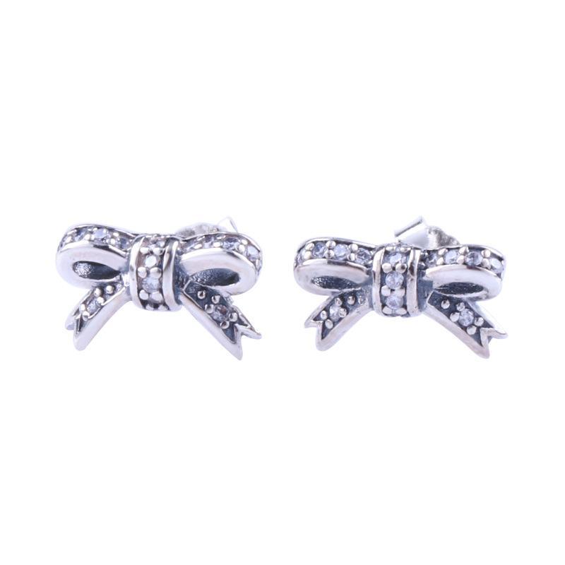 Carino piccoli insiemi di prua orecchini scatola originale per Pandora 925 sterlina delle donne ragazze di diamante della CZ regalo Orecchini