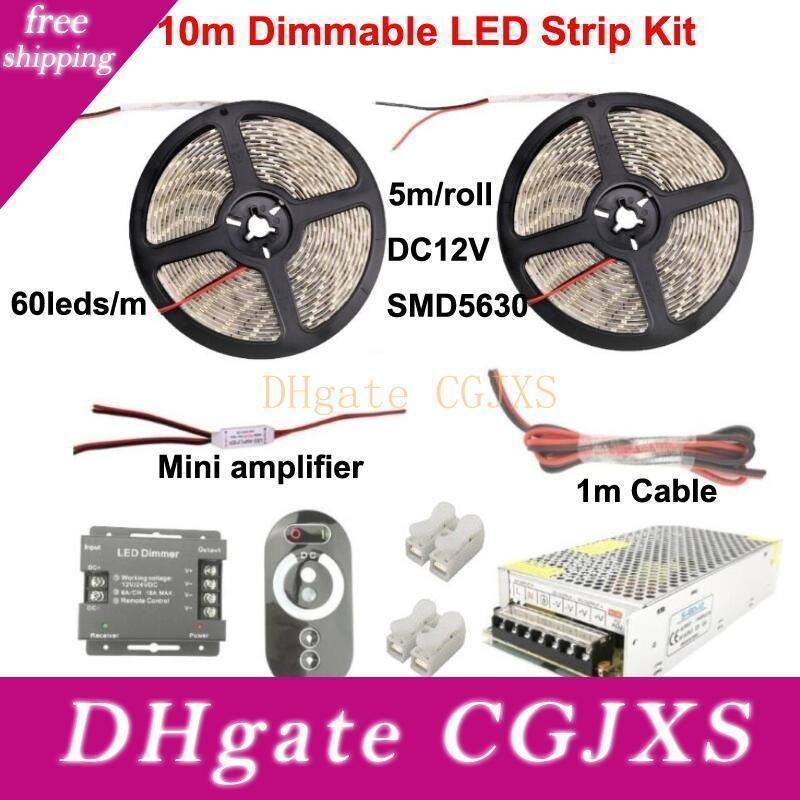 Dimmable LED Light Strip 5630 Smd 60LEDs / M 5m 10m 15m Kit Couleur unique Blanc Chaud Froid Blanc Rouge Bleu Vert éclairage de jardin Accueil Lumières