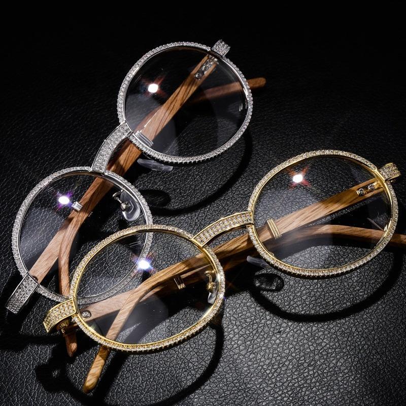 Hombres Mujeres joyería oval cristalina de madera vidrios de la manera Gafas de Hip Hop 2020 Ronda de época Cubic Zirconia Nuevas gafas de sol de lujo