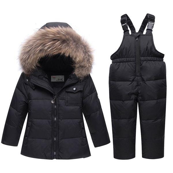 2020 Nouvelle hiver Vêtements pour enfants Ensembles épais veste vers le bas + Salopette Bébés garçons chaud jumpsuit enfants 1-5 ans Filles Habineige 0926