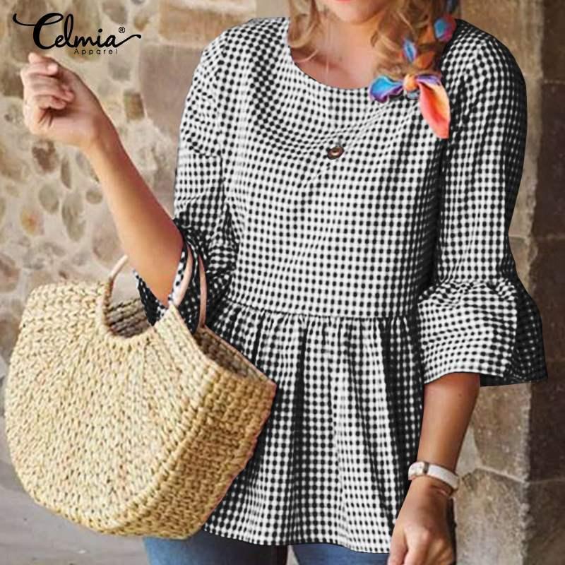 Celmia Plaid Femmes Chemises Vintage Ruches Blouses manches 3/4 Flare Tunique Casual Tops en vrac à carreaux élégant travail Blusas Mujer 7