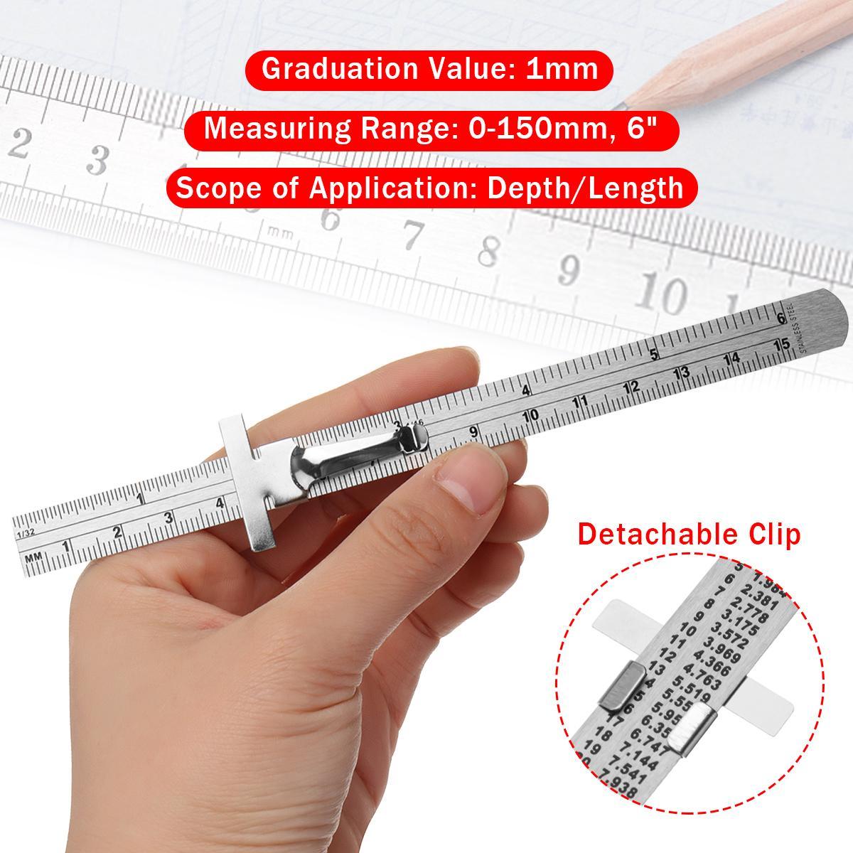 6 pouces poche profondeur de clip Longueur Règle Échelle trusquin Outil de mesure d'épaisseur Règle droite