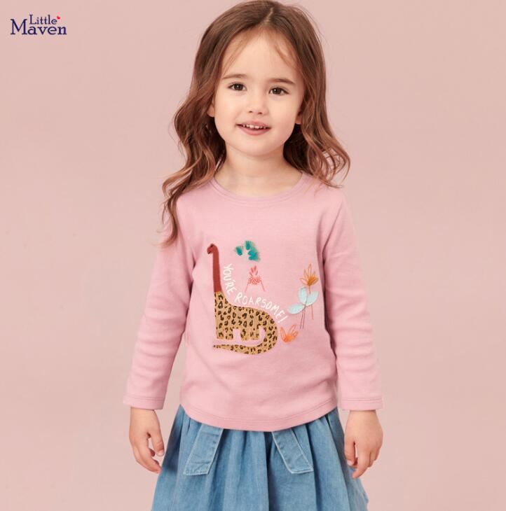 Spring Fall Girl kids Clothing T-Shirt 100%Cotton Long Sleeve O-neck Giraffe print shirt kids causal Clothing