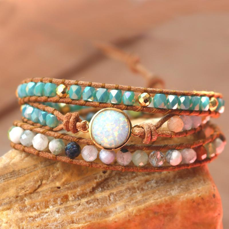 Top Quality Women Bracelets Natural Opal Stone Rhinestone 3 Rows Leather Wrap Bracelet Fancy Femme Boho Bracelets for woman Gift
