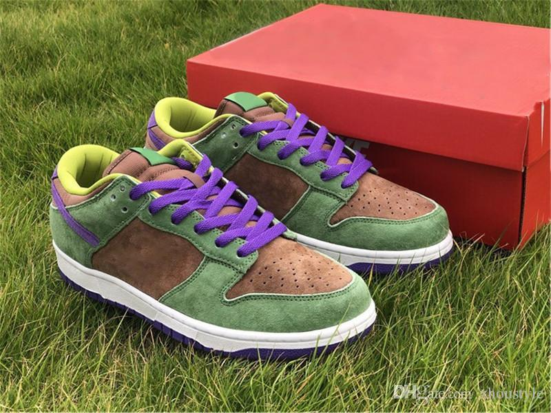 New Top Authentic Dunk SP Low Veneer Man Running Shoes Autumn Green Skateboarding Shoes Deep Purple Suede Upper Men Sneakers With Box