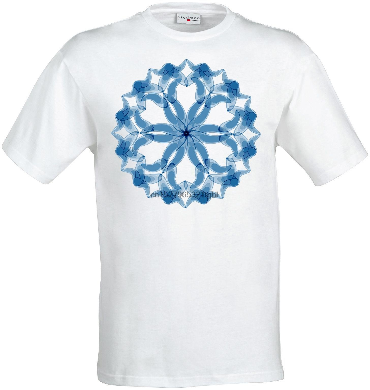 Синий Trippy Mandala Art New Age Медитация Men T Shirt White Summer Хлопок T-Shirt Мода Горячие Дешевые Мужчины