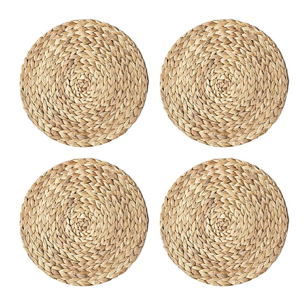 4 pezzi Set tovagliette di paglia della treccia Tavola rotonda tessuto stuoia della tazza Cucina Gadget Strumenti