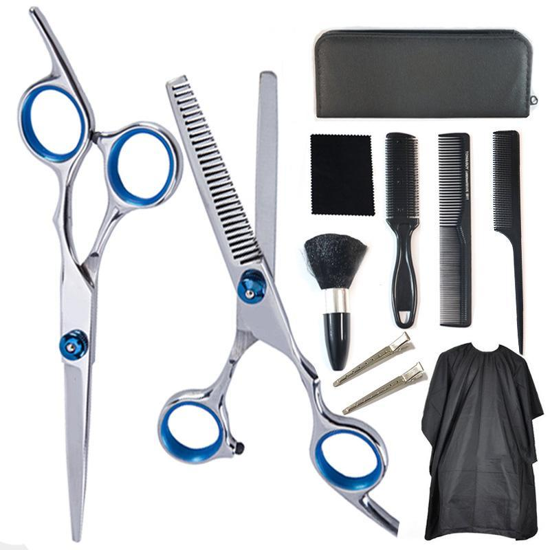 Hairdressing Thinning Home Pcs Scissors Comb Kit 10 Razor Barber Cape Professional Hair Shears Set Clips Cutting RpkNP topscissors