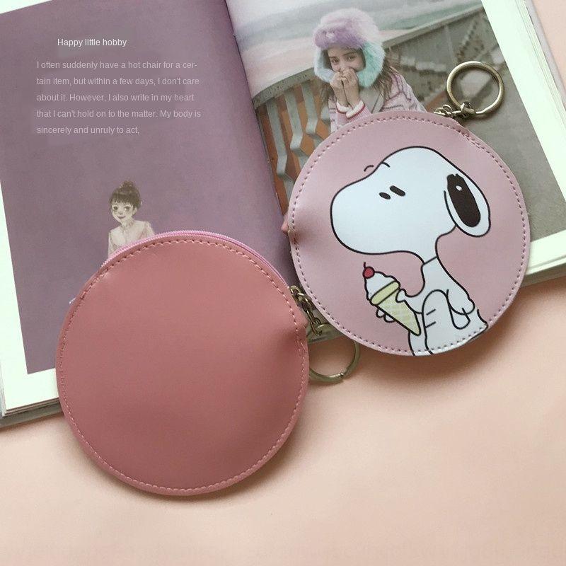 ins girl heart cute Snoopy round coin purse cartoon Charlie Card bag wallet coin purse Pu card bag wallet