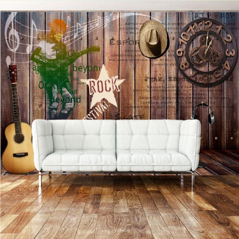 Перевозка груза падения Фото обои Европейский Американский Ностальгический Rocks Деревянный кронштейн ТВ стены фон Музыкальный бар Mural обои