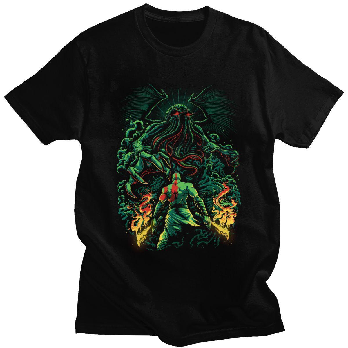 Choque de dioses Cthulhu Camiseta para los hombres 100% algodón camiseta impresionante de manga corta Lovecraft película de terror del monstruo pulpo Tee Tops