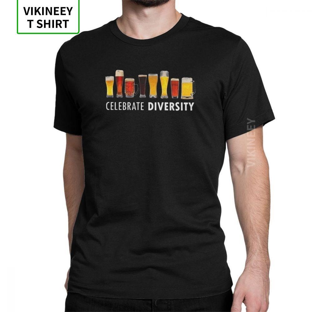 Celebram a cerveja t-shirt Diversidade Engraçado Homens Bar álcool ale bebida novidade algodão camiseta manga curta camiseta Roupa original