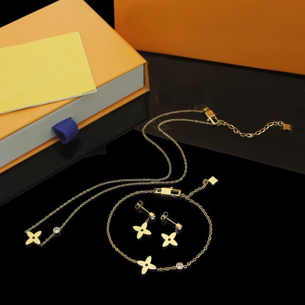 أوروبا أمريكا أزياء نمط مجوهرات مجموعات سيدة النساء الأحرف الأولى الماس أربعة أوراق زهرة سحر قلادة سوار أقراط أقراط