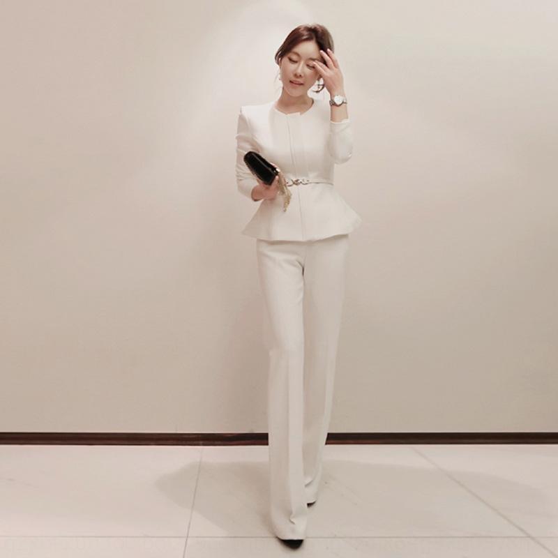 2019 Корейский весной и летом женщин новой моды Широкий ноги брюки пальто вскользь пальто костюма высокой талии широкий ноги брюки двухсекционный костюм