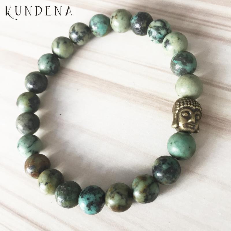 Bracelet Bouddha couleur bronze pour l'homme d'Afrique T-urquoise perlée Mala au poignet des hommes le meilleur cadeau pour lui Bracelet