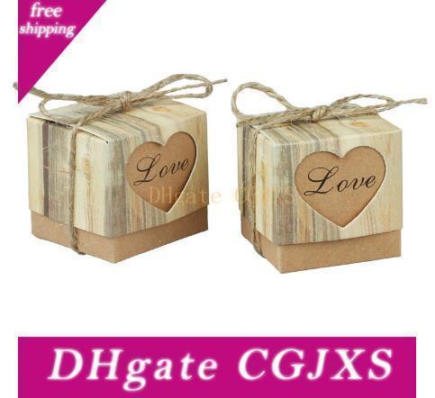 100pcs / Lot Coeur Romantique Boîte De Bonbons Pour décoration de mariage Vintage Kraft faveurs de mariage et boîte cadeau avec Jute Twine Chic
