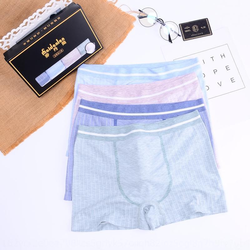 primavera ropa interior para hombres sin costura WX8KE Madanlan y el verano color puro ropa interior de algodón mediados de cintura transpirable boxeador de la ropa interior pantalones U cóncava