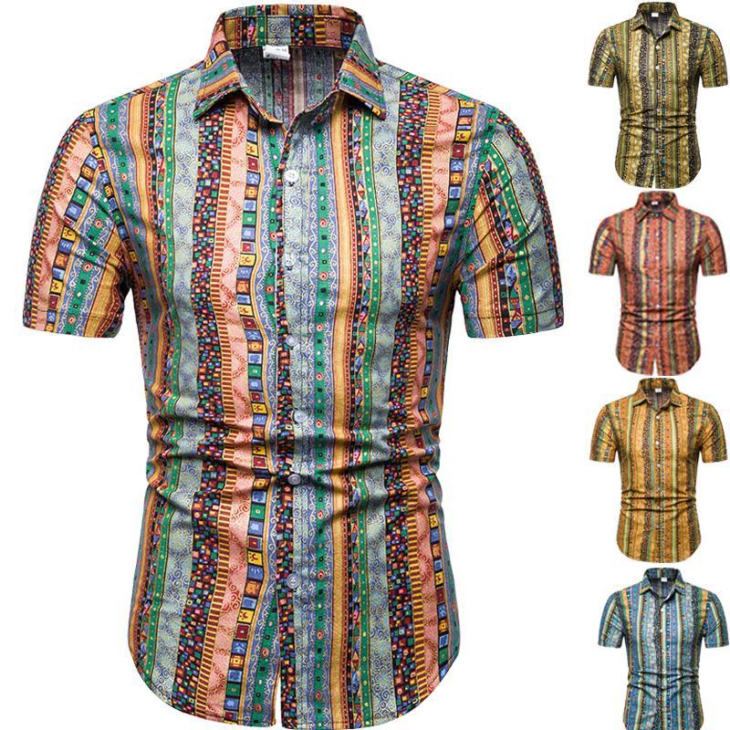 2020 Stampa in stile etnico di grandi dimensioni casual uomo sottile camicia a maniche stile di estate spiaggia M-5XL uomini della camicia di marca corta casuale