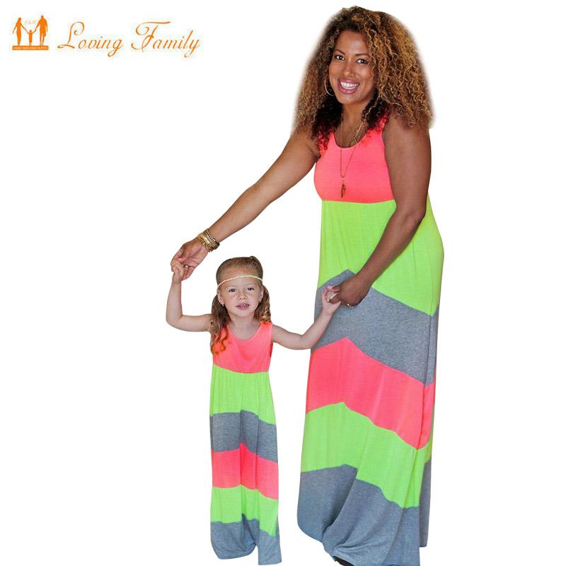 Summer Mother Daughter Dresses Mommy And Me Family Matching Clothes Striped Mom Dress Kids Child Outfits Mum Sister Baby Girl