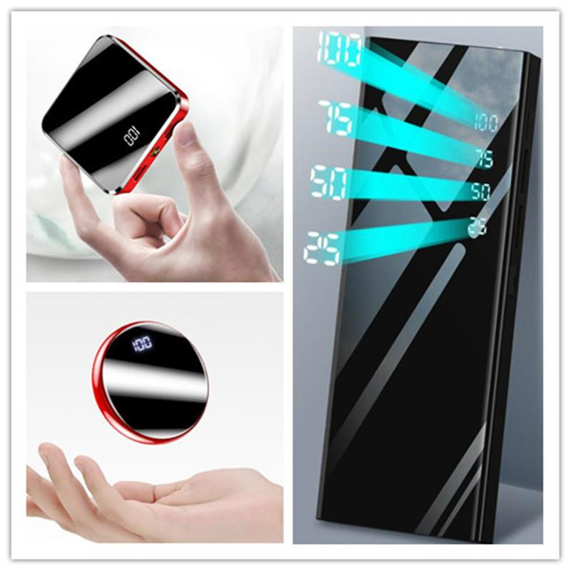 Mini Slim Power Bank Portable Charger battery 20000mah double USB LED Flashlight powerbank for Android mobile phone Tablet PC