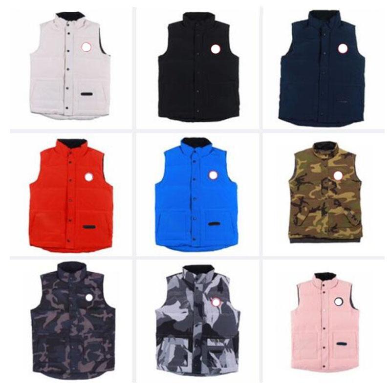 Top Designer Vest Mens vestuário para baixo Freestyle Crew Preto mangas camuflagem clássico Parkas Confortável Homens Mulheres Roupa