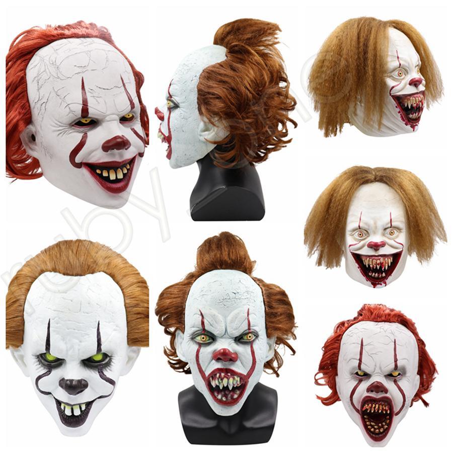 5styles Halloween maschera di silicone film di Stephen King E 2 Joker Pennywise maschera intera Horror Clown Cosplay Prop Mascherine del partito RRA3628