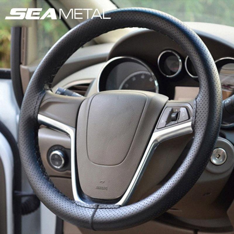 Fai da te Car Steering Wheel copertina in pelle intrecciata in microfibra Auto copricerchi Vetture Accessori Interni Steering copertura ruote Nave 7gfW #