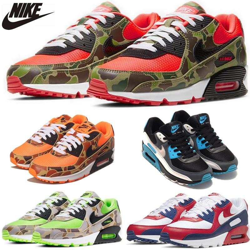 Alta Qualidade 90 reverso Duck Camo Verde Laranja OG Volt Mens Running Shoes Sports uva colorida Formadores 90 Betrue Sneakers Trainers 40-45