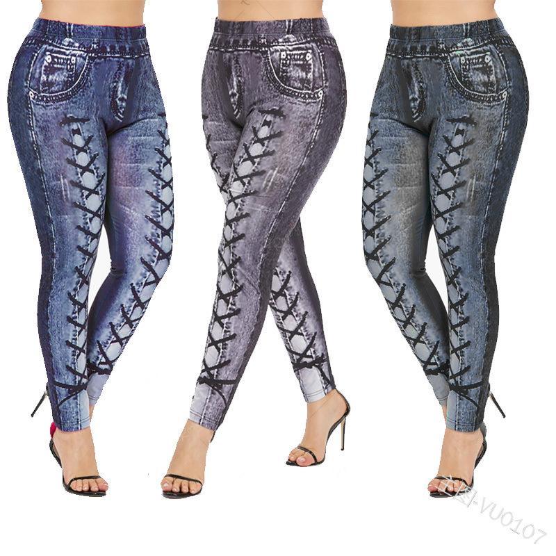 Moda Mujer Vaqueros Vaqueros ajustados con tiras Imprimir las mujeres frescas de Calle 2020 pantalones largos de la nueva llegada 3 de los colores del tamaño S-2XL