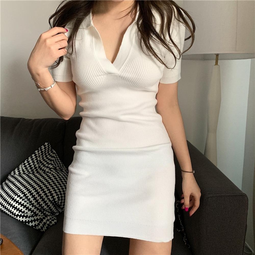 Yaz zarif etek moda önlük elbise yaka w318 kadınların dar kesim kalça kaplı etek elbise örme 2020 7dIMh Iog9U