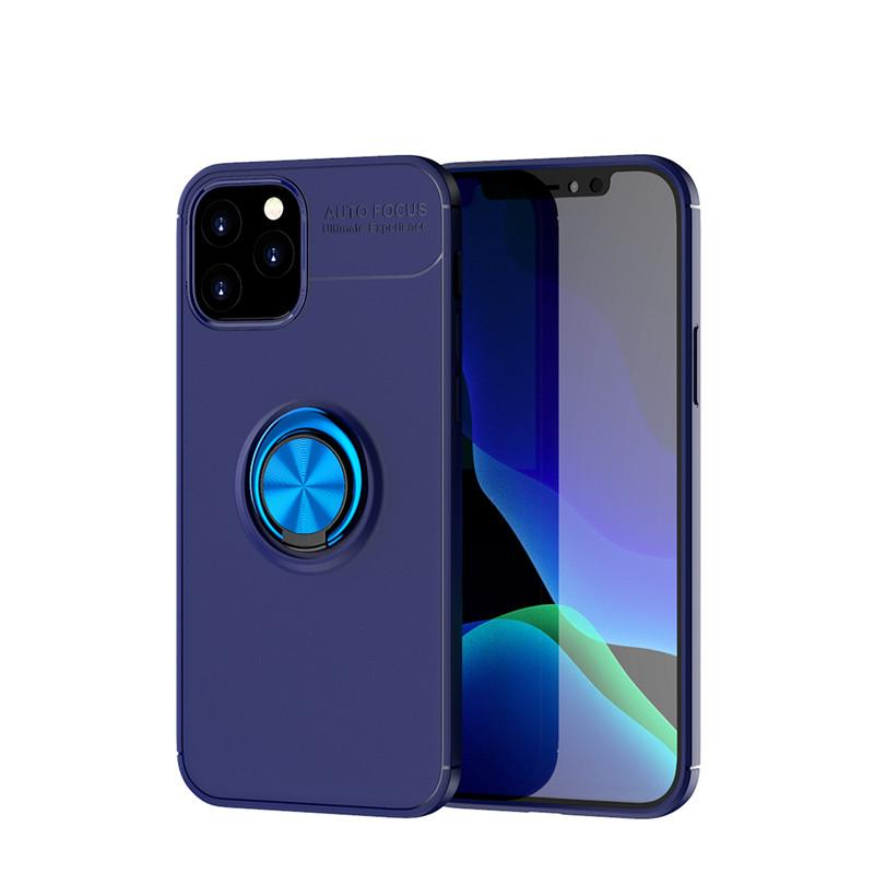 Luxury Shockproof TPU Case For iphone 12 11 pro max XS Max 8 Plus 7 Plus Metal Ring Holder Combo Phone Cover