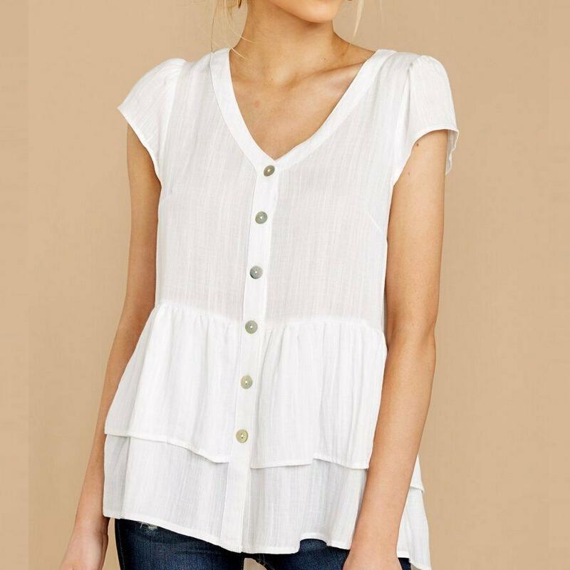 Лето Top лета женщин хлопка с коротким рукавом тройник Top Solid White V Neck T Shirt Сыпучие Тис Топы Женщины футболку