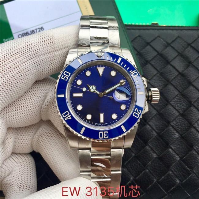 EW производит высокое качество 40 мм мужские часы 3135 автоматическое движение 316L стальные мужские часы с закрытыми дна