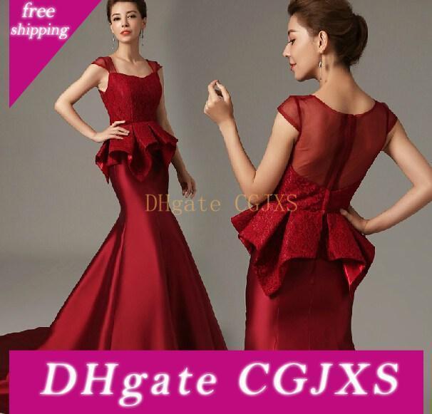 2017 New Burgundy Mermaid Abendkleider tragen Cap Sleeves Lange SpitzeAppliques Peplum Formal Plus Size Abendkleid-Partei-Kleid-Festzug-Kleider