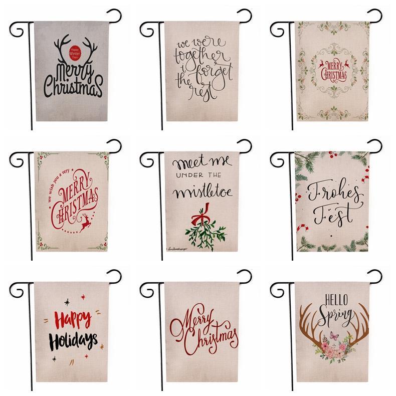 메리 크리스마스 정원 깃발 크리스마스 편지 나무 순록 행잉 배너 깃발 파티 장식 양면 인쇄 플래그 30 * 45cm CCA12494