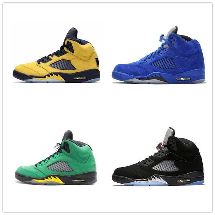 5 5s de chaussures de basket-ball Jumpman mousselines noir frais prince de sport noir vert île baskets rouge feu Michigan hommes de formateurs