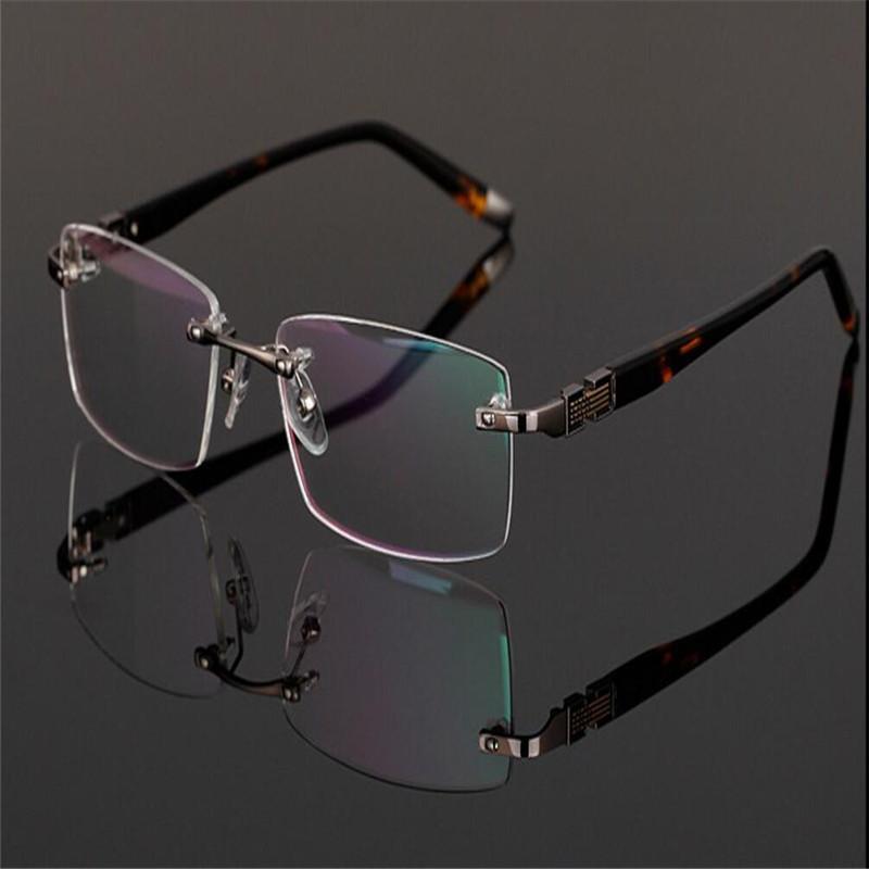 MONGOTEN Randlos Fashion Business Männer Alloy Luxus Retro optische Brillen-freie Objektiv-Myopie Goggle Spectacle Frame Brille