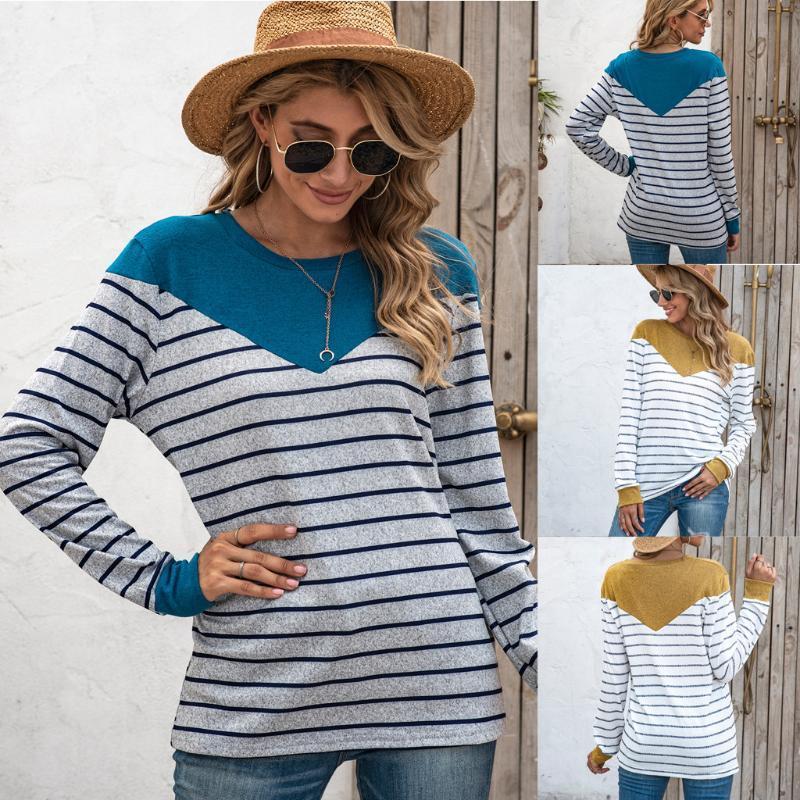 Женщины Блузки Рубашки Плюс Размер Мода Полосатый О-Образная Блузка Топы Вскользь Осень Зимние Женские Женские Женщины Длинные Рукав Blusas Pullover