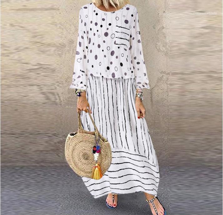 مطبوعة النساء الفساتين وهمية اثنان من قطعة وتتسابق بالاضافة الى حجم الإناث فساتين عادية كم طويل رقصة البولكا نقطة