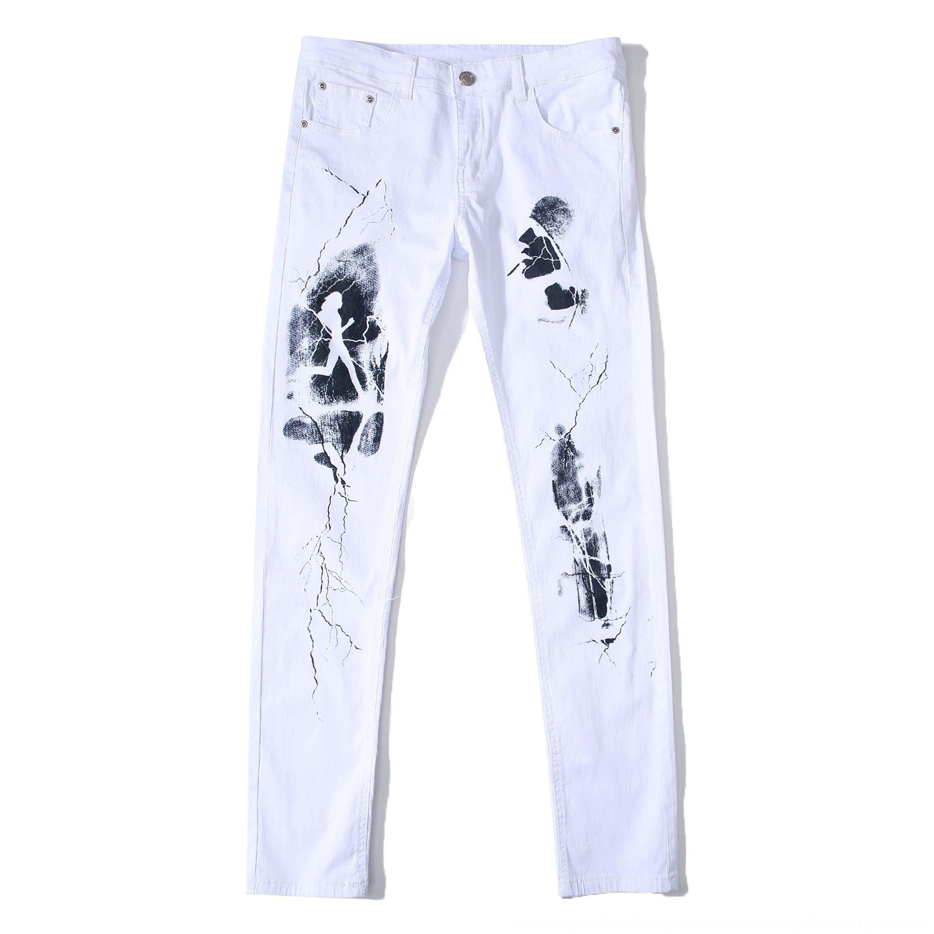 uYKXb DANT Булуна мужская мода и Брюки и джинсы напечатаны модные джинсы белые случайные стрейч тонкие белые брюки