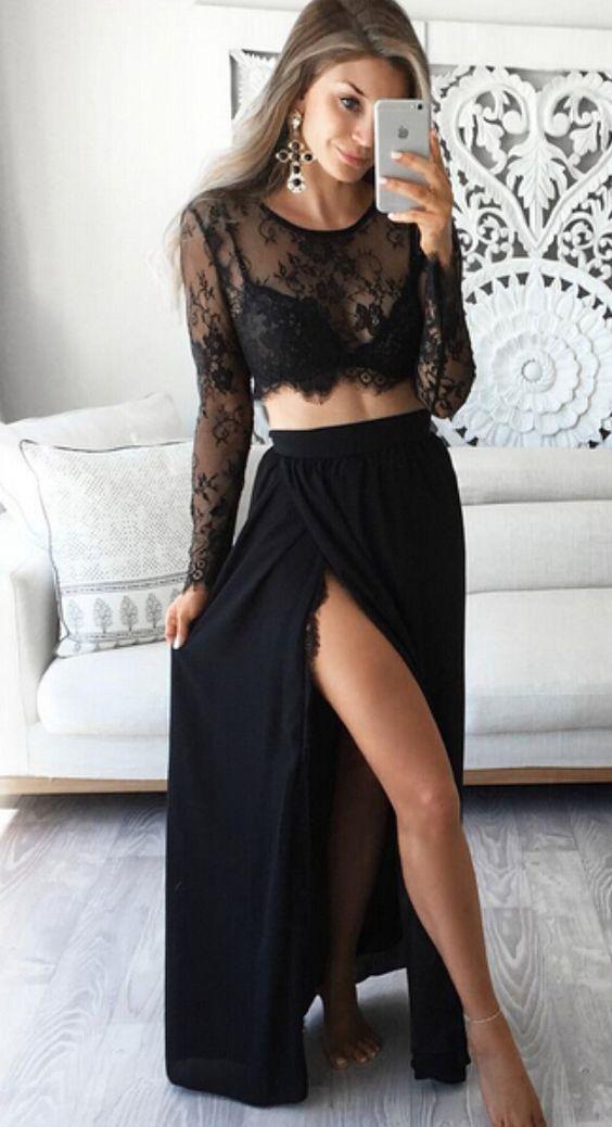 Sistema de 2 pedazos las mujeres 2019 mujeres atractivas se visten de manga larga negro ocasional con cordones ver a través vestido del resbalón de las señoras vestido de la playa conjunto de dos piezas